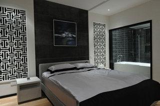 时尚摩登现代简中式卧室背景墙效果图
