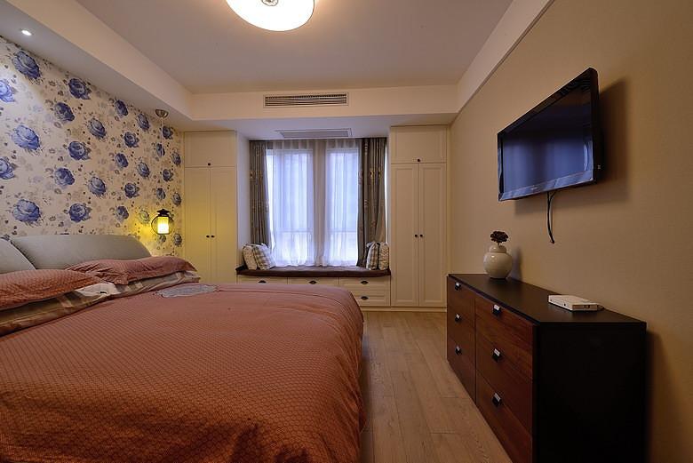 碎花浪漫现代卧室背景墙效果图