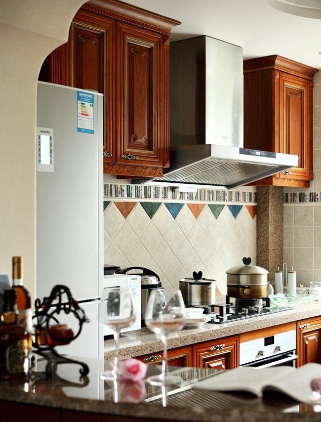美式复古原木田园风厨房效果图