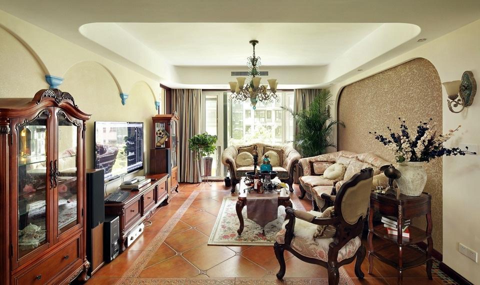 美式复古田园风沙发背景墙效果图