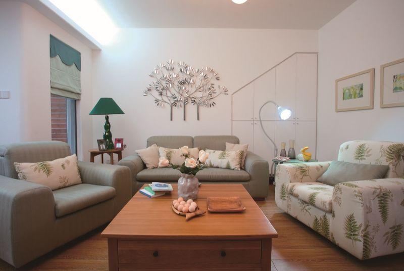 简约田园风混搭客厅沙发背景墙效果图
