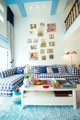蓝色地中海风格客厅装修效果图