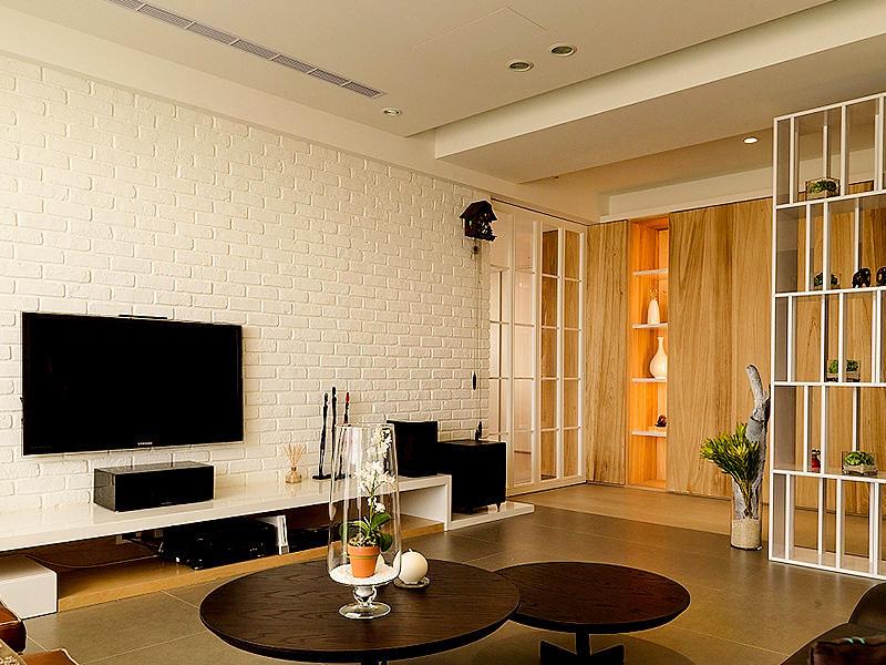 130平三居室现代北欧石膏背景墙