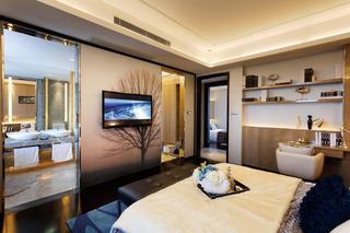 现代奢华卧室洗手间隐形门效果图