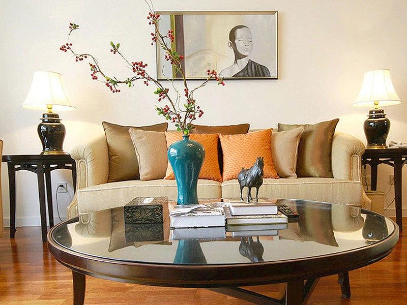 温馨舒适新中式小户型客厅沙发效果图