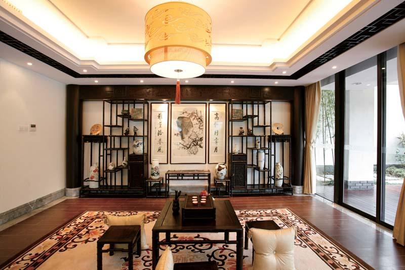 新中式博古架客厅设计图