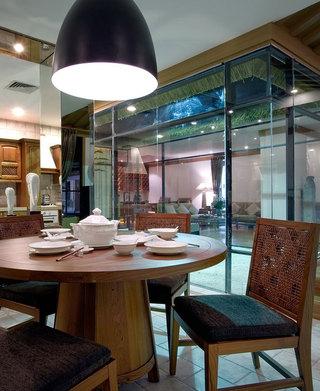 新中式玻璃隔断餐厅效果图