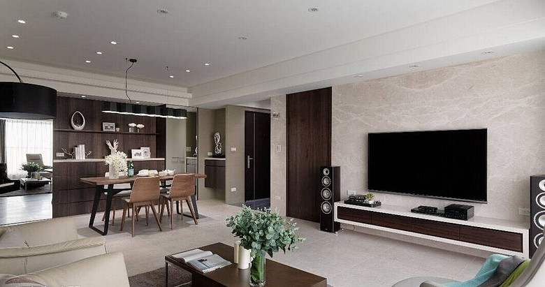 简洁三居室客厅实木家具搭配效果图