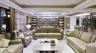 时尚新古典皮艺沙发客厅效果图