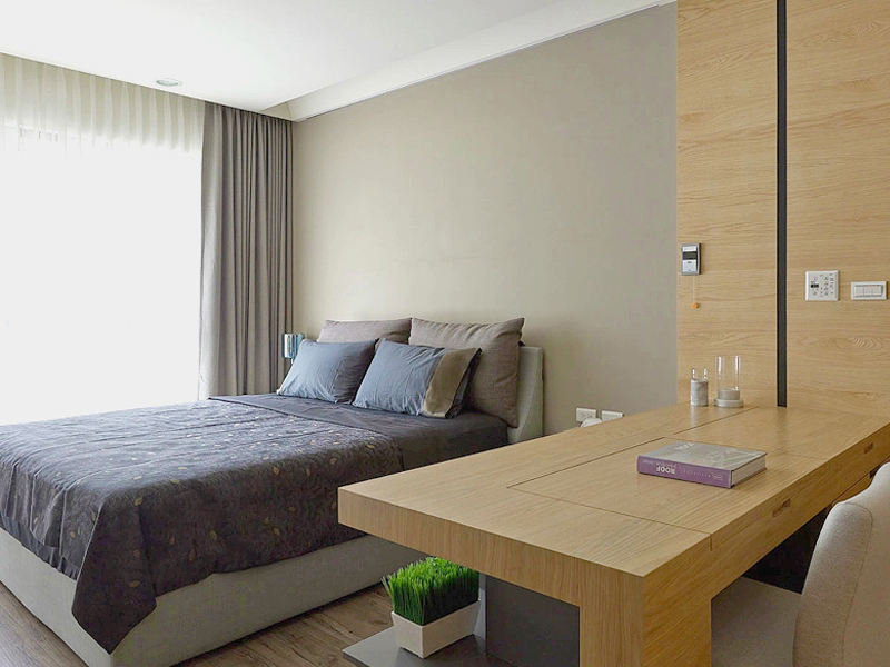 素色现代简约卧室效果图