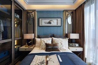 蓝色格调新古典主义卧室背景墙效果图