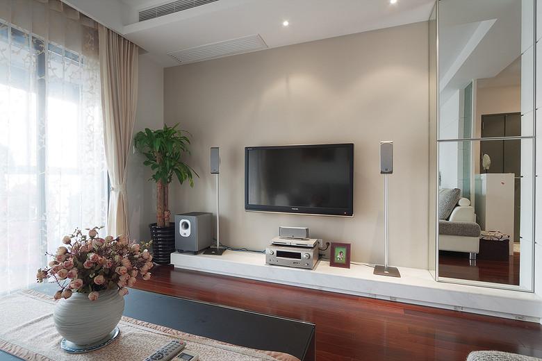 现代背景墙低层电视柜效果图