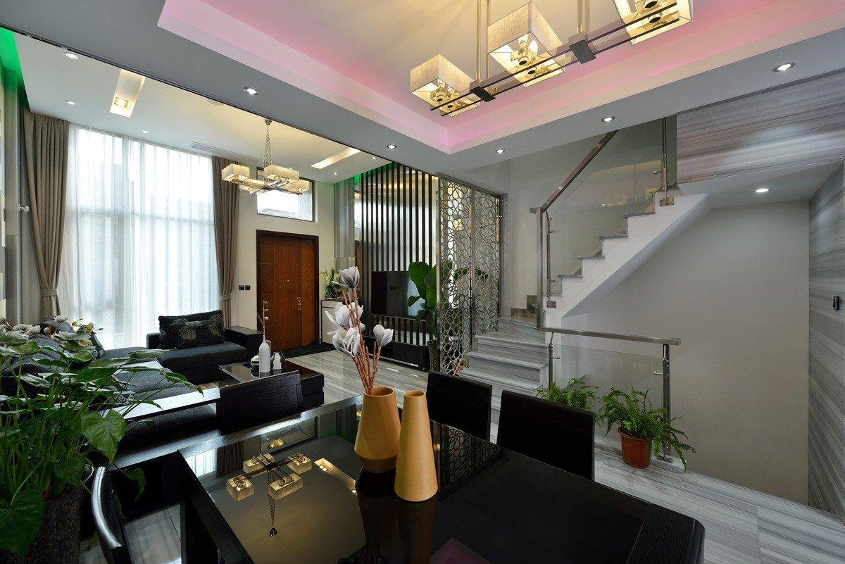 后现代复式楼客厅转角楼梯效果图图片