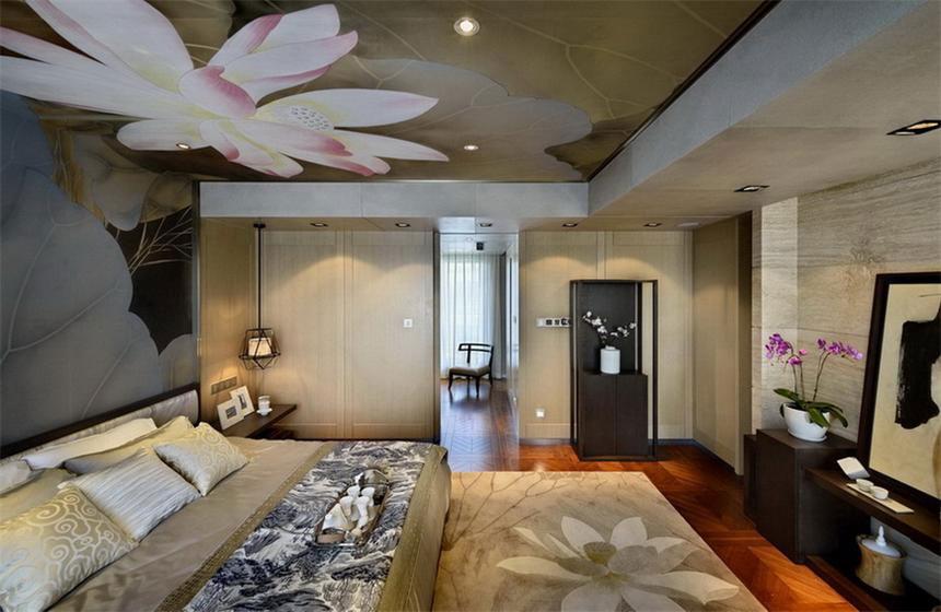 卧室荷花吊顶中式风格装修效果图