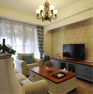 现代美式电视背景墙客厅效果图