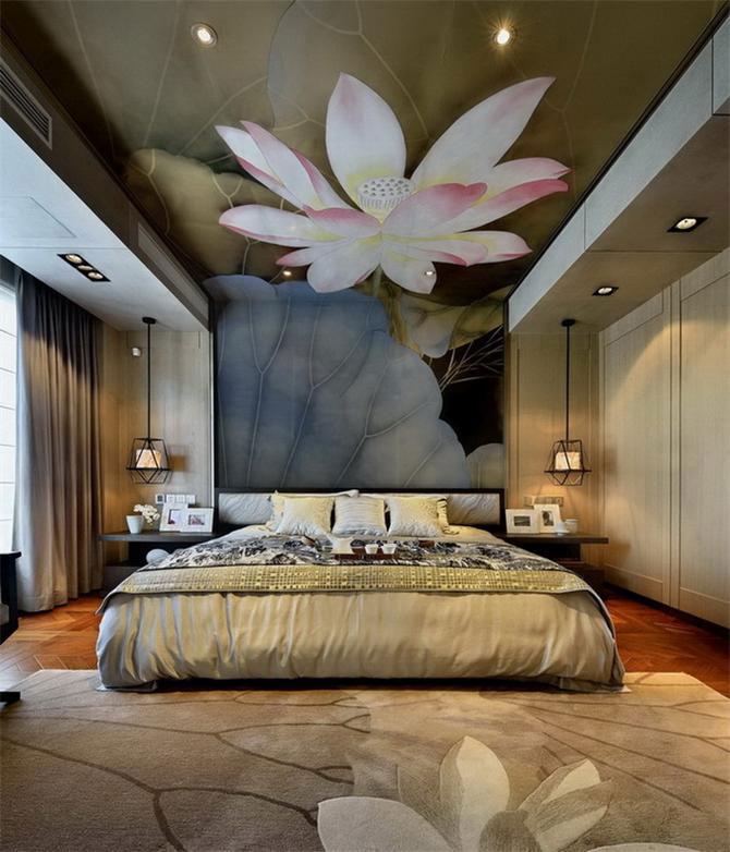 荷花景色吊顶 中式风格卧室效果图