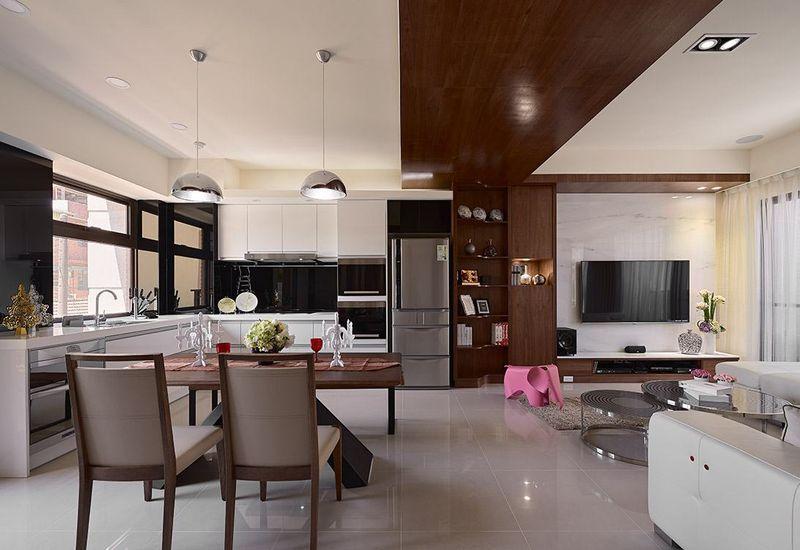 现代风开放式厨房客厅餐厅一体效果图
