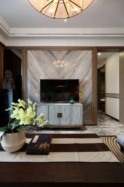 大气新古典风客厅微晶石电视背景墙