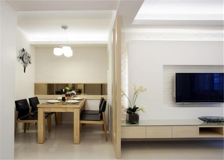 现代简约二居室客厅餐厅隔断装潢效果图