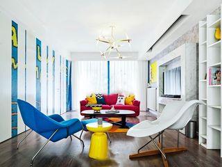 大胆撞色现代波普风三居室装修案例欣赏