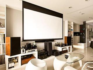 简约黑白时尚家庭影院影视墙设计