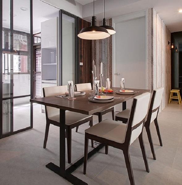 简约宜家风餐厅木质餐桌椅效果图