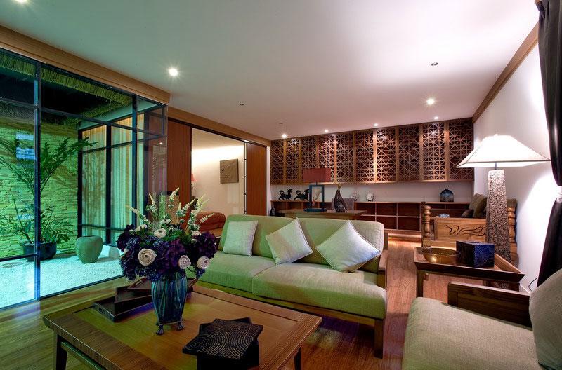 现代中式混搭客厅效果图