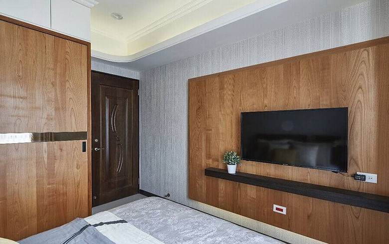 北欧原木卧室电视背景墙效果图