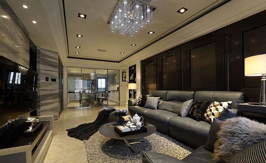 欧式客厅水晶灯吊顶家装效果图