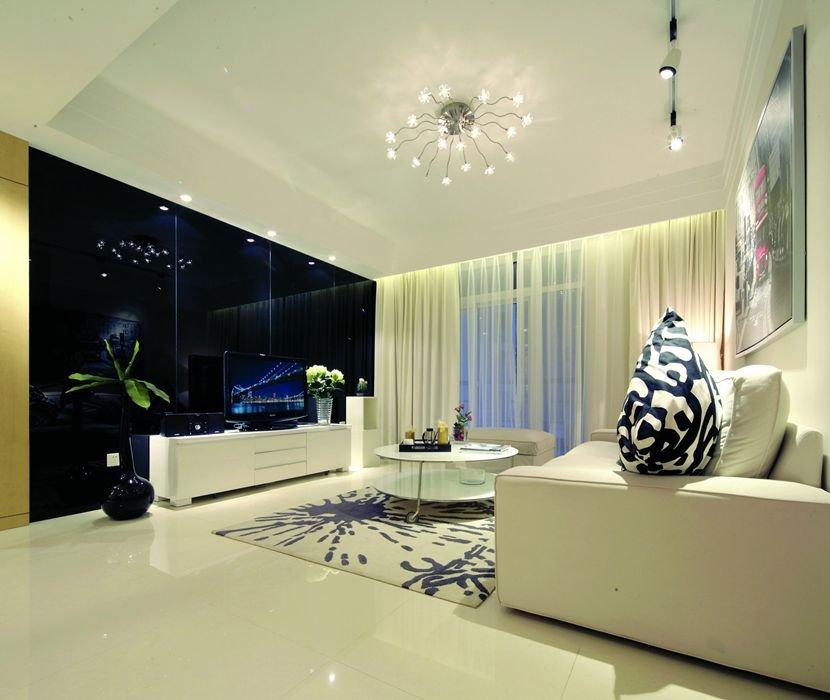 簡約客廳超大鏡面電視背景墻效果圖