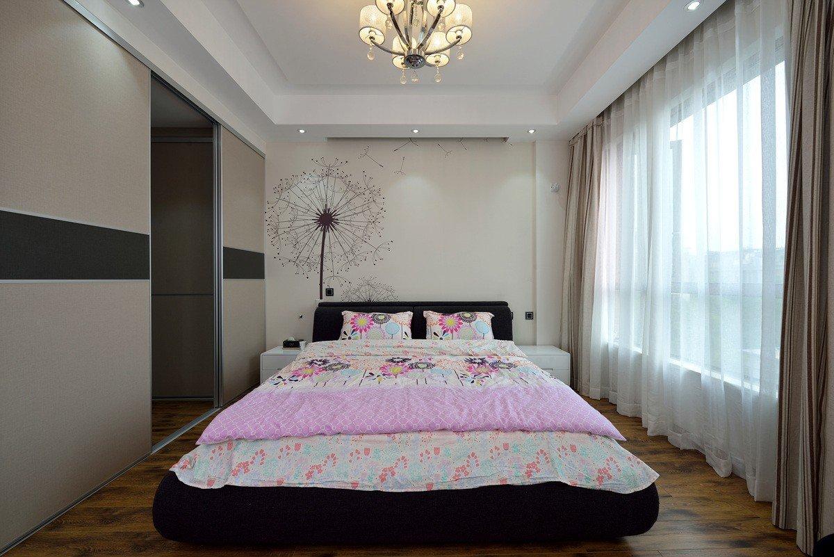 后现代墙纸背景墙卧室效果图