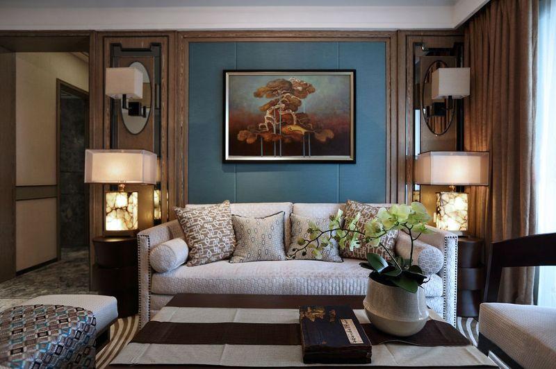 新古典主义客厅深蓝沙发背景墙效果图
