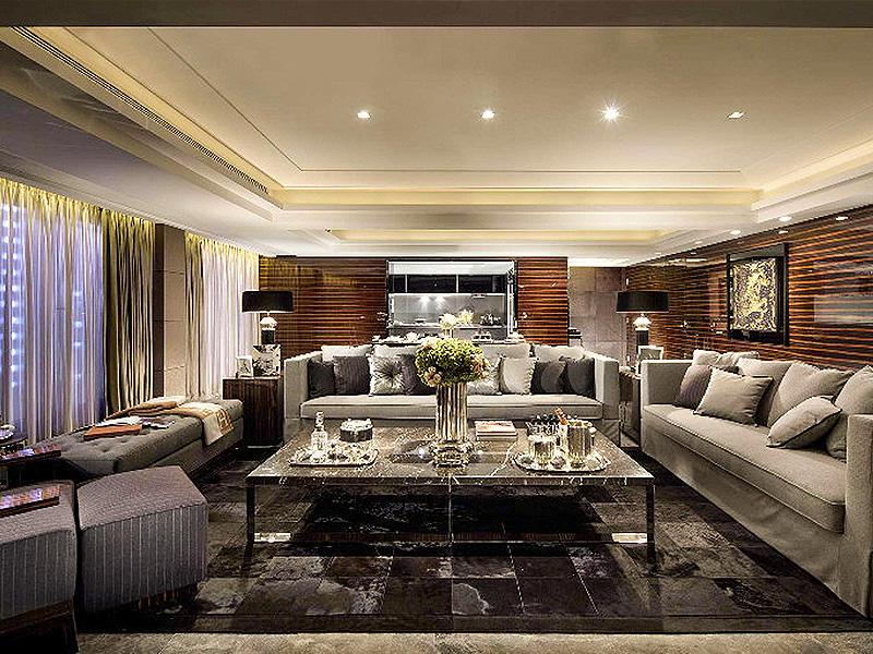 奢华后现代别墅客厅沙发背景墙效果图