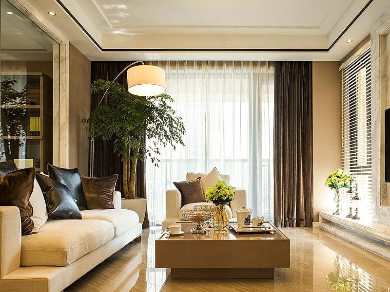 现代简约风格客厅落地窗效果图
