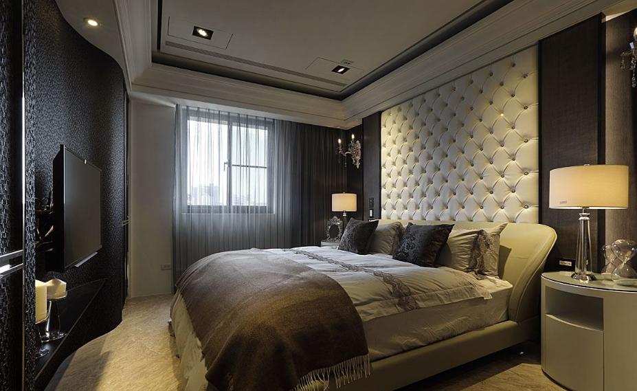 优雅欧式风格家居卧室软包背景墙装饰效果图图片