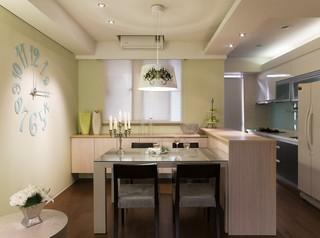 现代简约风格开发性厨房餐厅设计效果图
