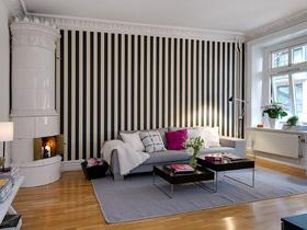 黑白条纹背景墙 舒适一居室