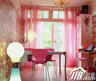 简约风格公寓温馨粉色豪华型120平米餐厅餐桌效果图