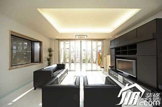 日式风格公寓富裕型120平米客厅电视背景墙沙发效果图