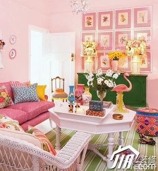 混搭风格公寓梦幻粉色5-10万100平米客厅背景墙沙发效果图