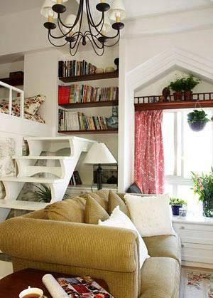 欧式田园风 45平小复式客厅