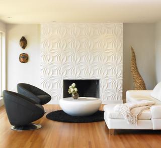 黑白配现代风客厅欣赏 硅藻泥背景墙出彩