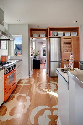 具有特色的厨房空间  很美的厨房地板