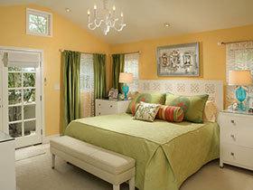 清新卧室效果图 21张彩色卧室床设计