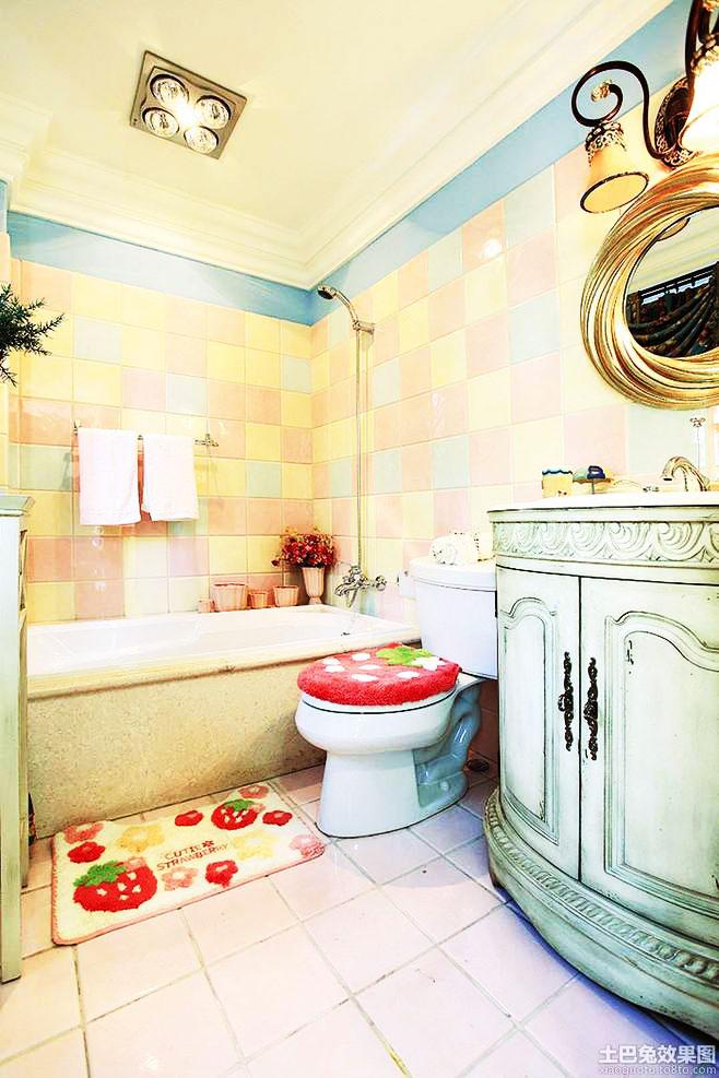 蓝色浴室柜效果图
