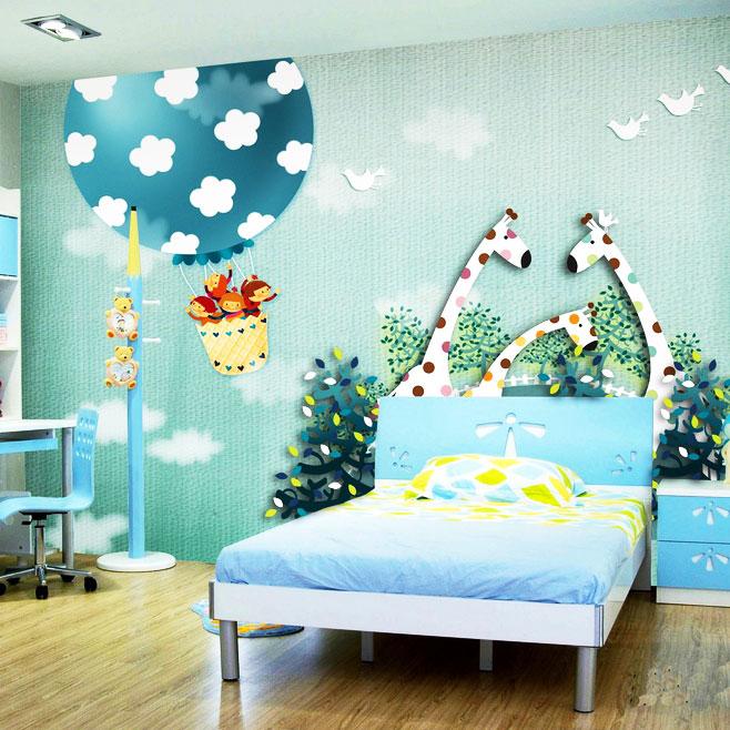 绿色儿童房背景墙图片