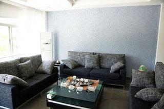 蓝色硅藻泥背景墙效果图