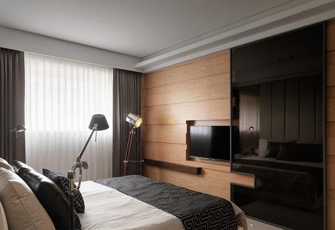 现代卧室电视背景墙效果图
