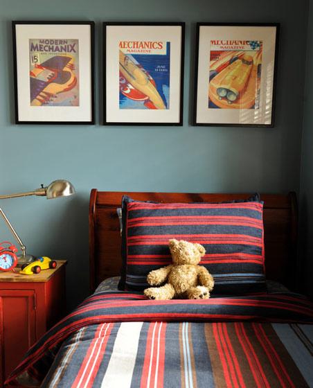 蓝色卧室背景墙装修效果图