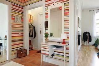 彩虹条壁纸玄关设计效果图